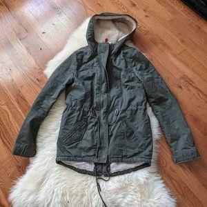 H&M jacket coat utility sherpa lined